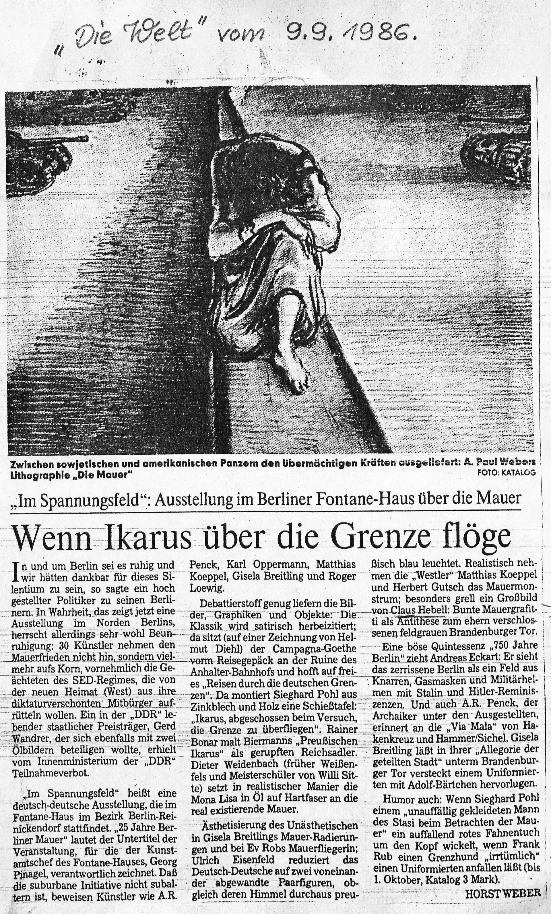 Die Welt. 9. September 1986: Wenn Ikarus über die Grenze flöge